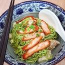 GREEN wanton noodles!