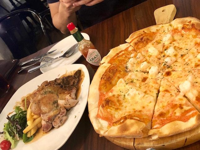 Mentaiko Pizza + Chicken With Mushroom Cream Sauce