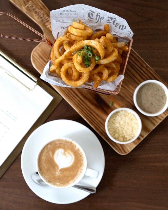 Truffle mayo curly fries [~$14]
