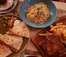 Quesadilla (Chicken), Spaghetti Cabonara, BBQ Ribs