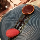 Chocolate Tart With Blood Orange Sorbet