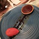 Chocolate Tart With Blood Orange Sorbet
