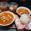 Signature Souper Combo: Creamy Tomato Basil Soup + Sweet Thai Chicken Popiah  ($10.80)