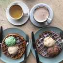 Waffle With Double Scoop Ice Cream & Drink