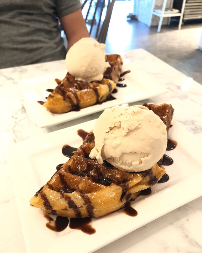 Waffle With Ice Cream At $7.40