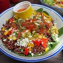 Colorful salad - Brown ricr, capsicum, spinach, salsa, corn and cheese!