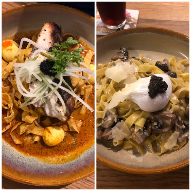 Laksa Barramundi ($24) And Truffle Carbonara ($24)