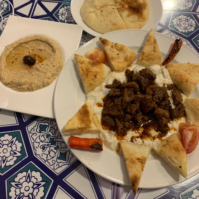 Ali Nazik (Lamb) + Hummus