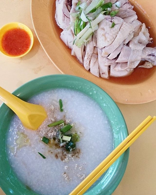 chicken porridge ($11 for 2 porridge, half chicken) @ soh kee cooked food