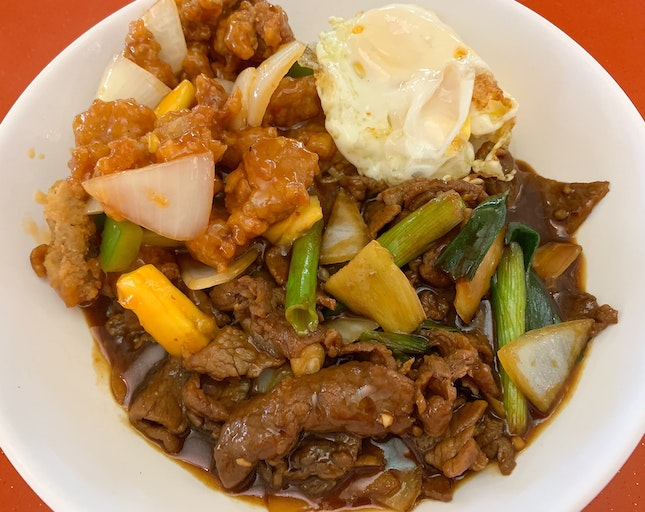 Spring Onion & Ginger Beef Rice With Sweet & Sour Pork   $8