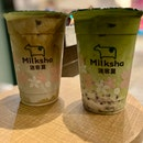 Hojicha Fresh Milk + Matcha Azuki | $8