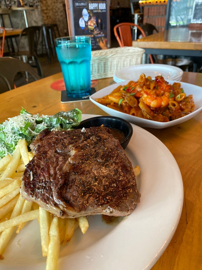 Grilled Ribeye and Chilli Crab Pasta