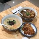 braised marbled beef noodle & crispy chicken cutlet noodles