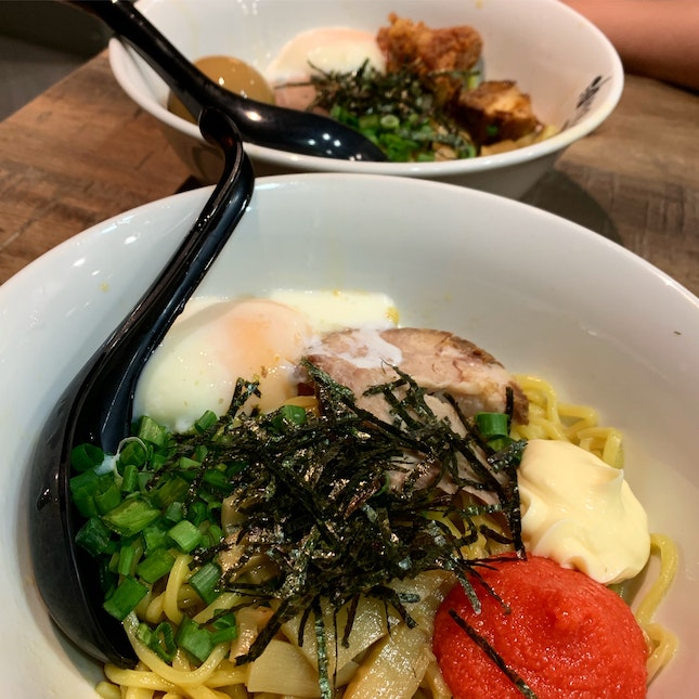 Mazesoba with Cod Roe with Mayonnaise & Mazesoba with All Toppings