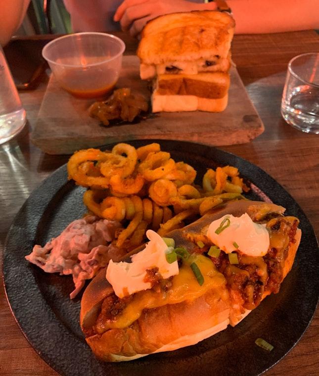 Chilli Cheese Dog & Mushroom Grilled Cheese