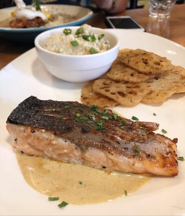 Pan-seared Salmon with Truffle Lotus & Potato Salad ($16.50)