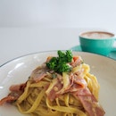 Carbonara with Turkey Toast