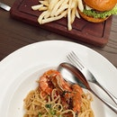 Garlic Basil Prawn Linguine & Mentaiko Burger