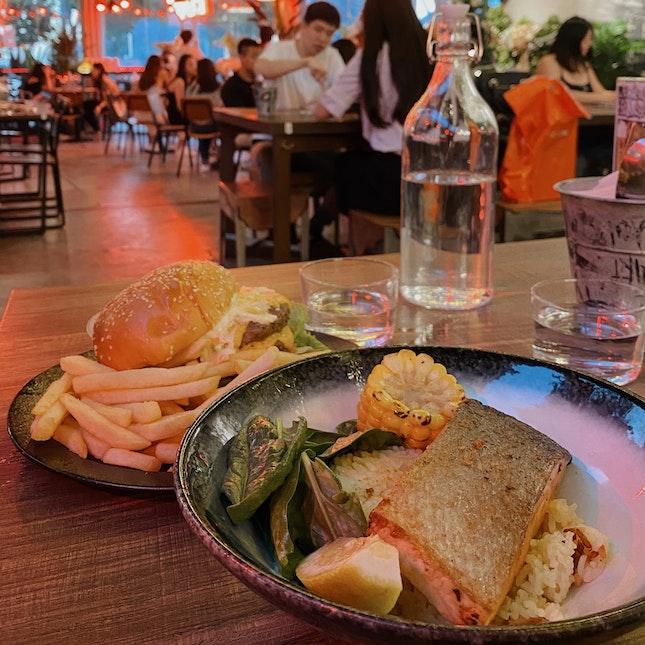 Salmon Bowl & Double Cheeseburger