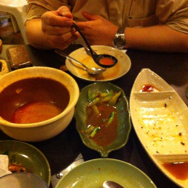 Tom Yum Soup + Kailan + Pandan Chicken