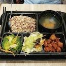 Vegetarian rice set (brown rice) at #greendotsg .