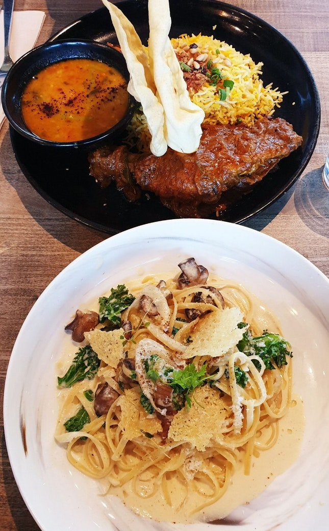 Truffle Mushroom Linguine and Chicken Briyani