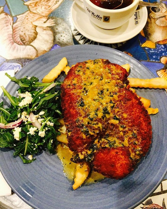 """""""Variety's the very spice of life, that gives it all it's flavor.""""- William Cowper  Celebrating Thursday with a juicy and succulent Schnitzel with some arugula and feta cheese!"""