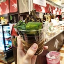 It's hojicha softserve with warabi mochi today!