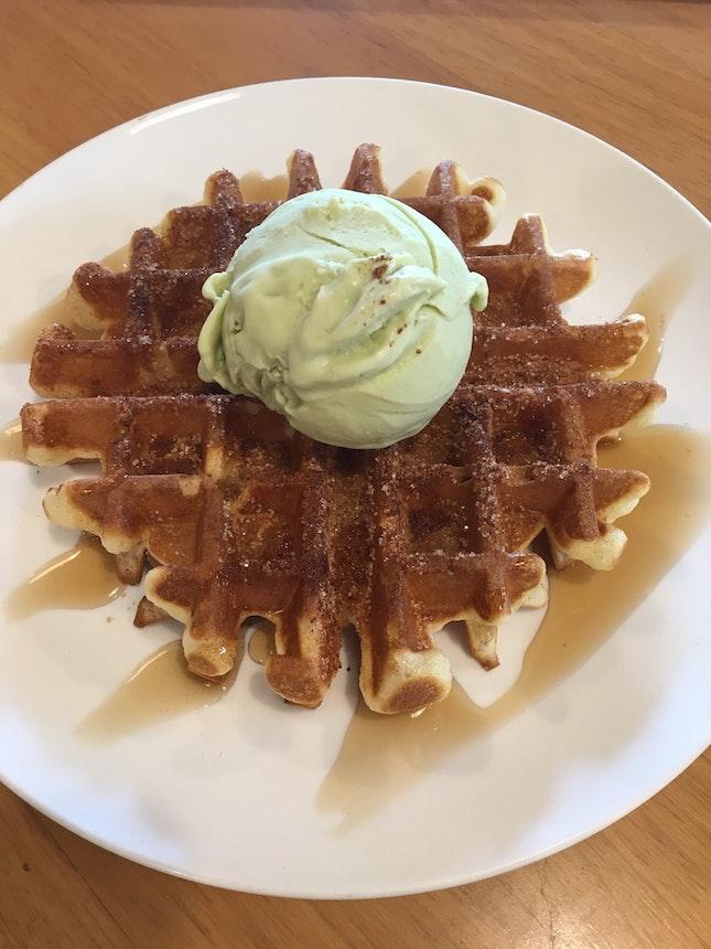 Churros Waffles With Ice Cream ($8.80)