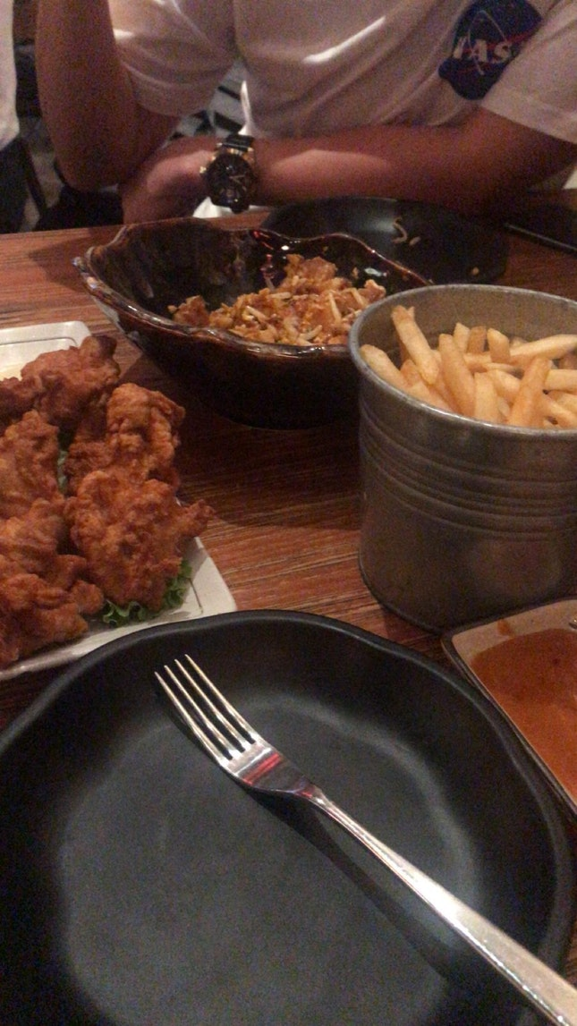 Salted Egg Fries, Fried Chicken, XO Fried Rice