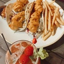 Fish Tacos ($22) & Raspberry Mint Mocktail ($10)