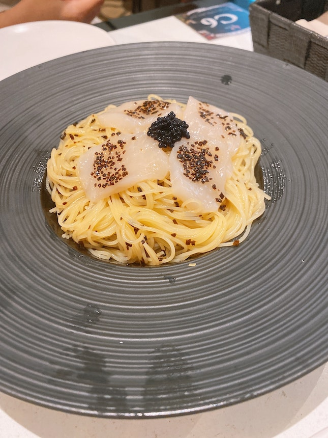 Cold Truffle Somen With Hotate And Cavier $16