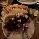 Baja Fish and Chorizo & Beef Brisket $11 + $10