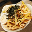 FOOD REVIEW  GRUB (BISHAN PARK) Rating: 💋💋💋 (Must Try)  Mentaiko Fries $6 The fries is crispy on the outside and is soft & thick in the inside.