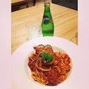 Yummy spaghetti seafood marinara !