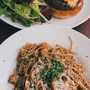 Seared prawn mentaiko pasta ($23), Wagyu cheeseburger ($25)