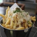 truffle fries in a bucket