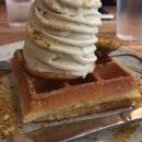 sunday folks pistachio ice cream w waffles