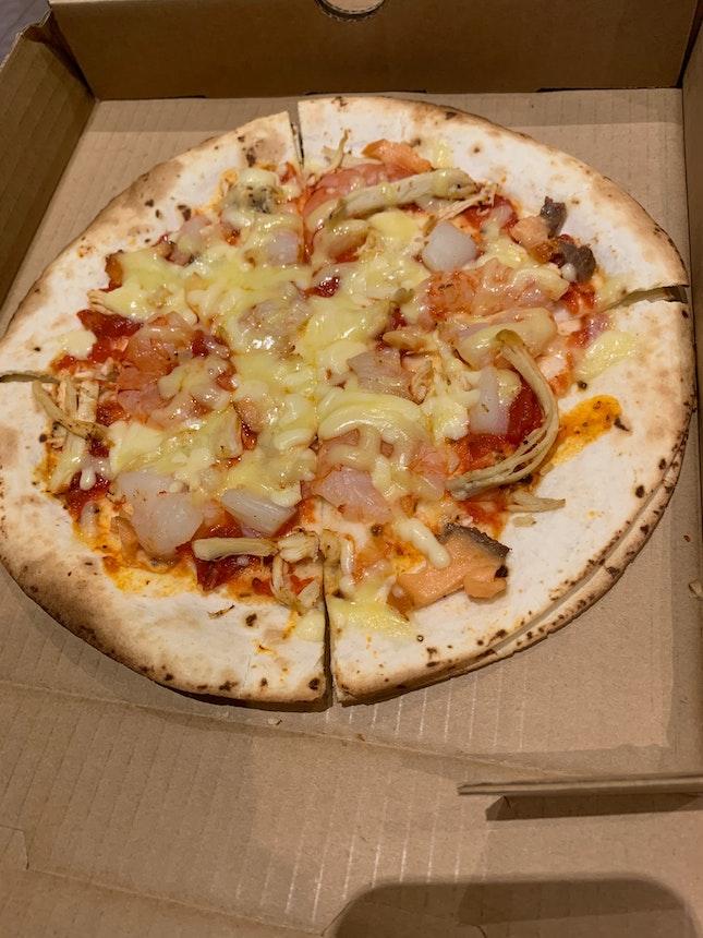 Seafood Tortilla Pizza