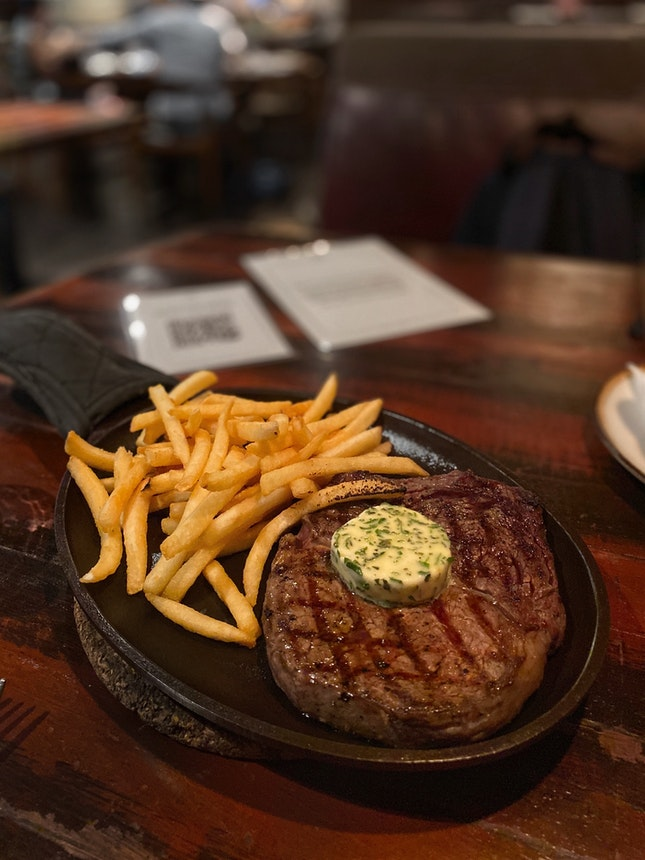 Woodfire-Grilled Ribeye Steak ($58, as part of 3-course set lunch)