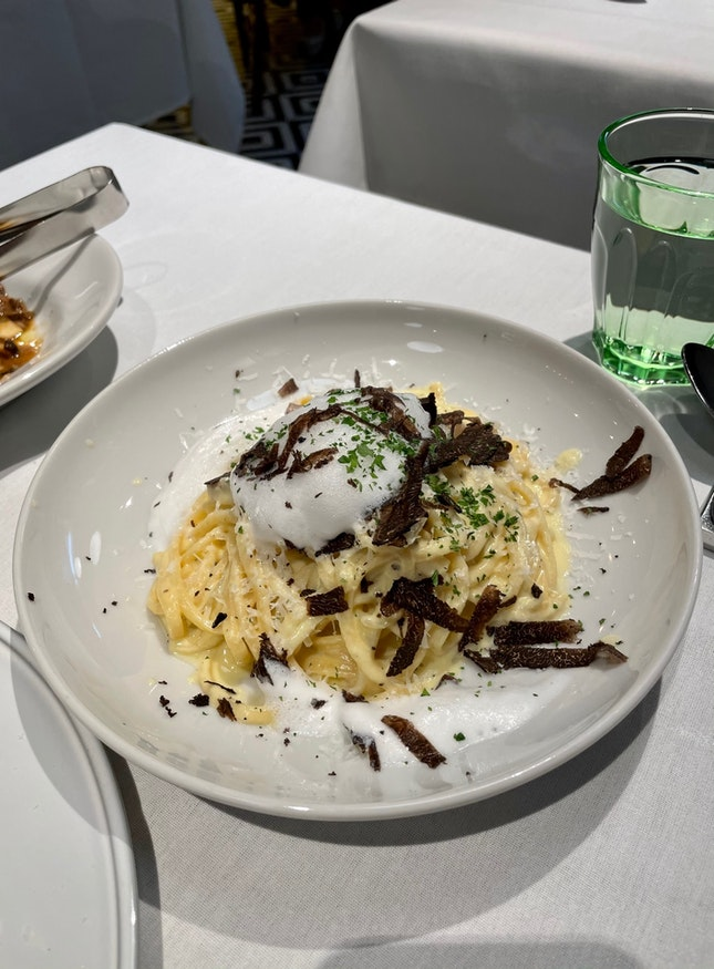Tonnarelli Carbonara with Black Truffle ($33.90)