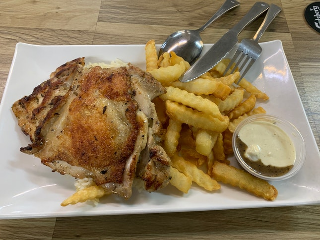 Chicken Chop With Butter Rice And Fries (Cream And Black Pepper Sauce Mixed)