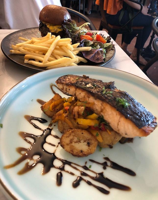 wagyu beef burger + pan seared salmon