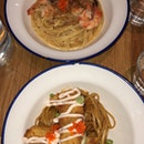 fried fish pasta and prawn pasta