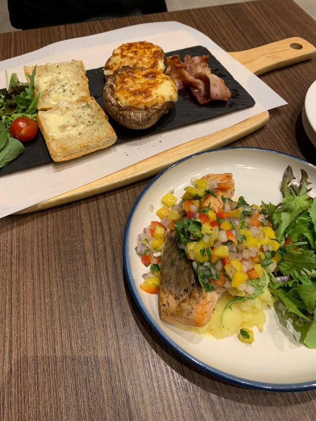 Salmon, Egg Cheese Portobello Mushroom