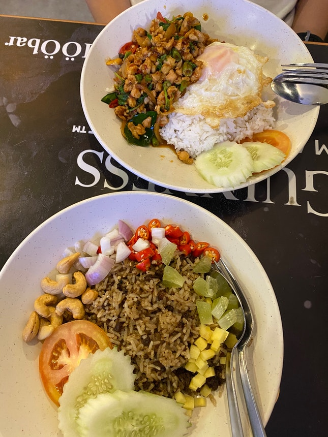 Olive Fried Rice, Basil Chicken Rice