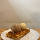 Waffles with double scoop salted butterscotch & Milo fudge Ice Cream