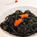 Baby Scallop and Fish Roe Squid Ink Sauce Spaghetti.