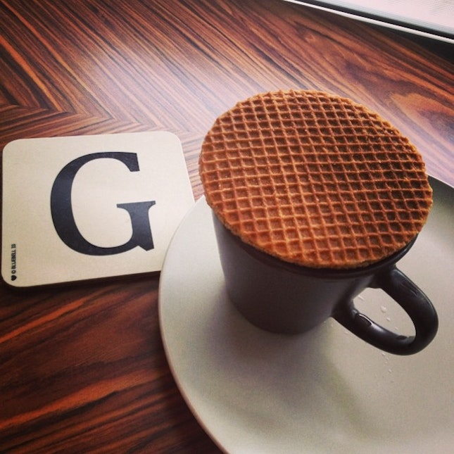 Mornings: A strong cuppa coffee and stroopwaffle.