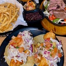 Fish tacos ($13) + Ribeye Fajita Platter ($38) + Season fries ($6)